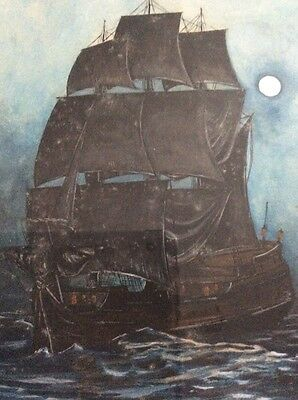 1910 Signed Watercolor Rope Border Clipper Sailing Ship In Moonlight