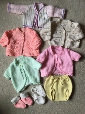 Large Bundle Girls Clothes Cardigans Newborn Hand Knitted Knit Wool Baby Booties