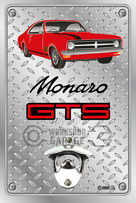 Wall Mount Bottle Opener Metal Sign - HOLDEN HK GTS Coupe Red