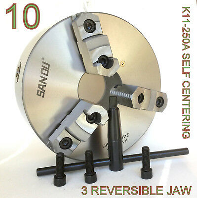 "1 pc Lathe Chuck 10"" 3 Jaw Self Centering w/Reversible Jaw K11-250A sct-888"