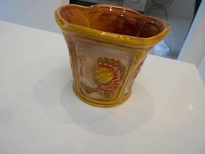 """Turkey Hand Painted Small Planter/vase Type-Vg+ Condition 2 1/2"""" X 3"""""""