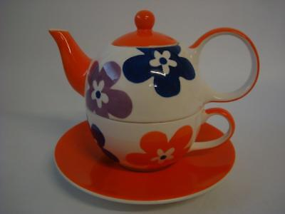Whittard Of Chelsea Tea For One Teapot Cup And Saucer Orange Retro Floral