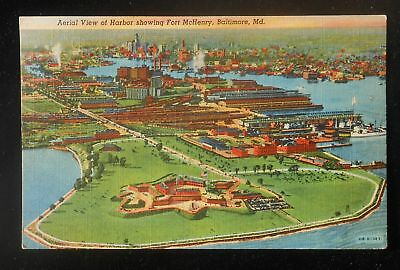 1943 Aerial View Of Harbor Showing Fort McHenry Factory Wharf Railroad Baltimore