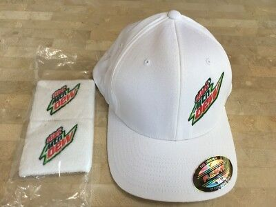 Mountain Dew Diet Golf Hat Flexfit S/m 98% Cotton 2% Spandex Wht & 2 Wristbands