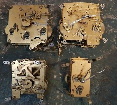 Assortment Of Mechanical Clock Movements For Parts Or Restoration