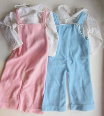 vintage baby large doll dungarees & top blue pink 70's new dead stock