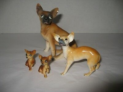 Lot of 4 Ceramic Porcelain Chihuahua Dog Figurines - As Is