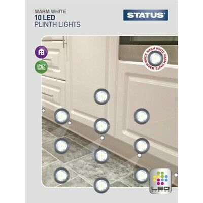 Pack of 10 Kitchen Unit LED Plinth Lights Warm White Kitchen Bathroom Hall NEW