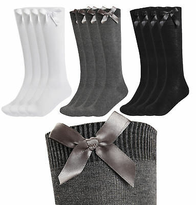 4 Pack Girls Knee High School Socks With Bows Long Plain Cotton Rich Party Socks