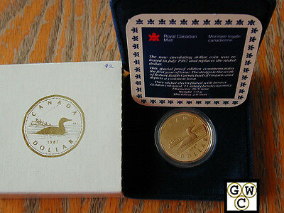 Canada Proof Dollar 1987 Loon First Year Gem In Case With Certificate Loonie