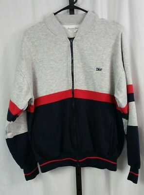 Vintage 90's Christian Dior monsieur mens track jacket sz L color block full zip