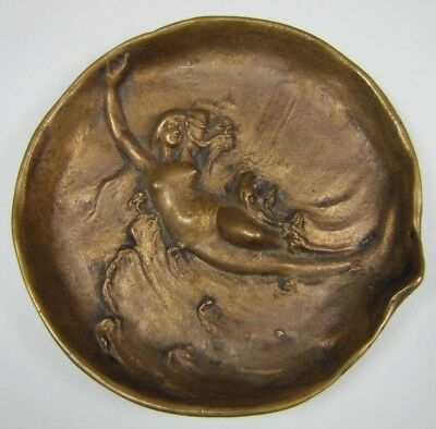 Exquisite DUNHILL Art Nouveau Bronze NUDE BEAUTY in WAVES Decorative Arts Tray