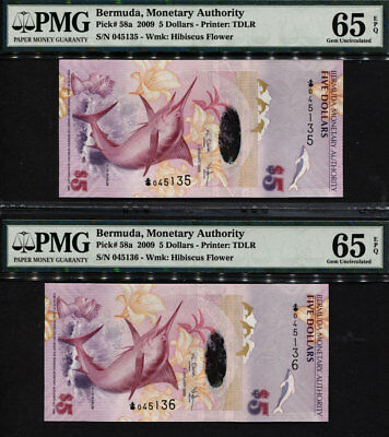 "TT PK 58a 2009 BERMUDA $5 ""BLUE MARLIN"" PMG 65 EPQ SEQUENTIALLY # SET OF TWO!"