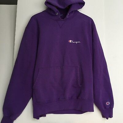 Vintage Champion PURPLE XXL Hoodie Spell Out Sweatshirt Faded Retro Distressed