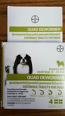 Bayer Quad DeWormer Chewable Tablets Puppies & Small Dogs 2-25 lb