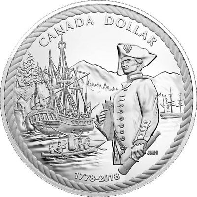 18354 2018 Proof Silver $1 Coin '240th Anniversary of Captain Cook at Nootka Sou