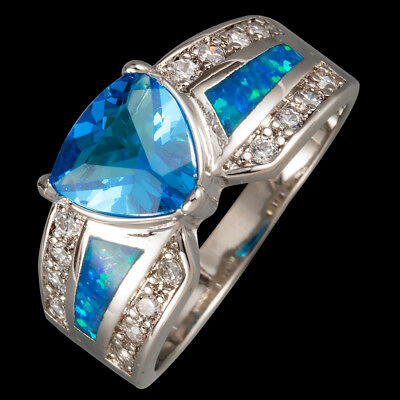 8x8mm Trillion Blue Topaz Blue Fire Opal CZ Silver Jewelry Ring US Size 7 8 9