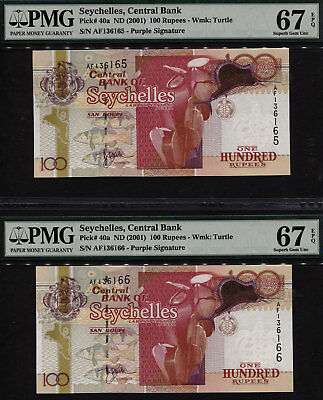 TT PK 40a 2001 SEYCHELLES 100 RUPEES PMG 67 EPQ SEQUENTIALLY NUMBERED SET OF TWO