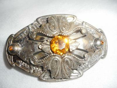 Vintage Gray Kingsburg Ny 1930S/ 1940S Victorian Revival Pin W/ Citrine Glass
