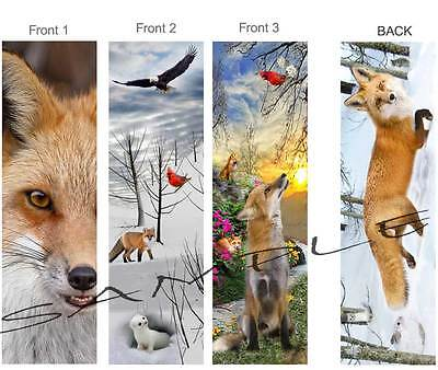 3-Red FOX BOOKMARK Winter ART Animals Snow Rabbit Weasel Bird Book Card Ornament