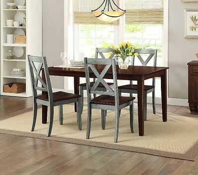 Farmhouse Dining Table Set Rustic Country Kitchen 5 Piece Chairs Wood Blue  Brown