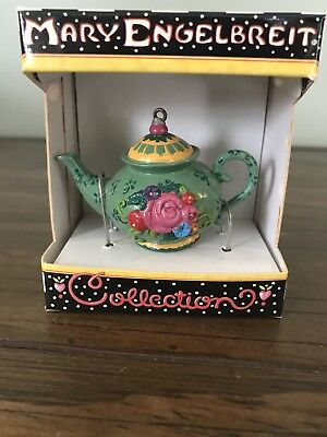 Mary Engelbreit Miniature Teapot Green with Flowers