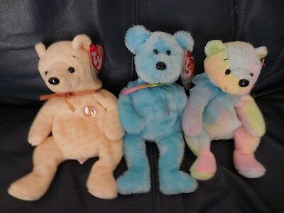 Lot of 3 Ty teddy bear Popcorn, blue Sherbet, and Mellow Beanie Babies Baby MWMT
