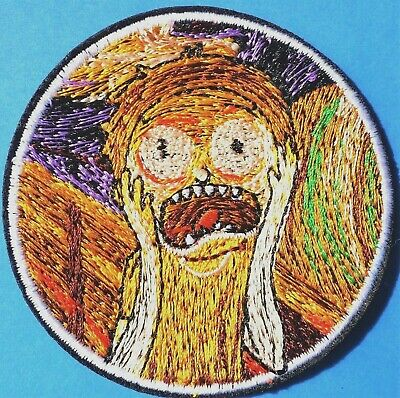 Scream Munch Funny Rick Morty Embroidered Patch Iron On Quality 7cms