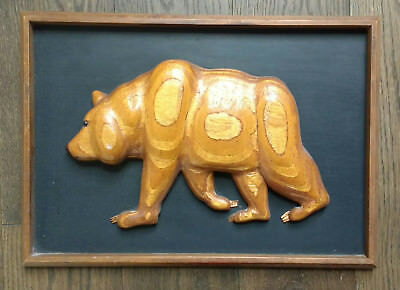 OOAK Vintage Framed Wooden Grizzly BEAR Animal Totem PROTECTION STRENGTH beauty