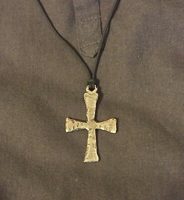 Ancient Greek Silver Christian Cross Pendant Necklace