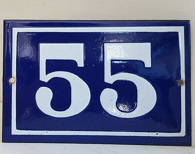 OLD FRENCH HOUSE NUMBER SIGN door gate PLATE PLAQUE Enamel steel metal 55 Blue