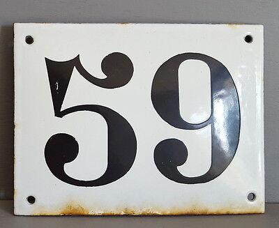 LARGE ANTIQUE FRENCH ENAMEL METAL DOOR HOUSE GATE NUMBER SIGN Black & white 59