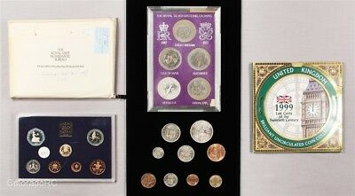 Lot of 5 United Kingdom Coin Sets, 1953-1999 Dates, 4 in Royal Mint Packaging