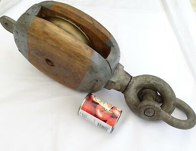 "MASSIVE SHIPS SINGLE BRONZE WHEEL PULLEY BLOCK 22"" LONG  No2"