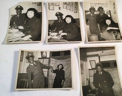 Lot Of 5 WWII Snap Shot Photos Black African American Soldier & Japanese Woman