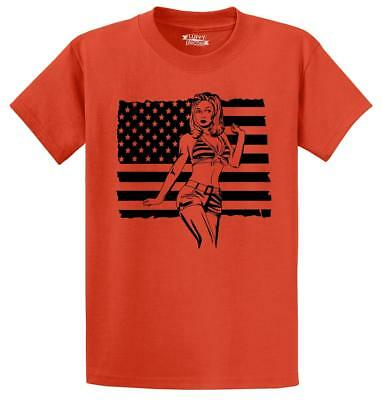 Mens Pinup Girl American Flag T-Shirt Usa Patriotic Pin Up American Pride Shirt
