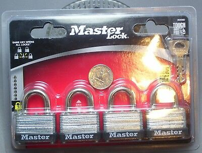 Master Lock Set of Four Same Key Opens all Four 3009D