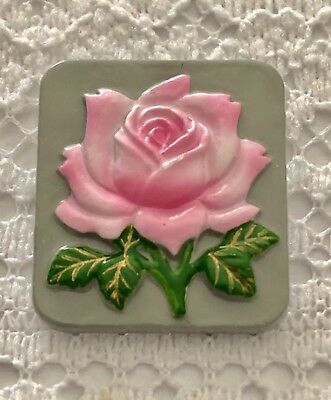 Beautiful Pink Open Rose Flower on Square Toshikane Grey Button