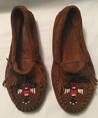 Womens Minnetonka Moccasins 6 Brown suede shoes beaded Classic Thunderbird NEAT
