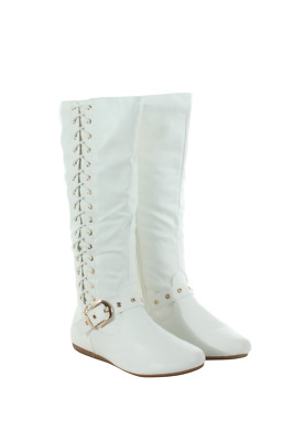 Rachel-65-00 Women Tall Flat Boot With Side Lace Forever Footwear White