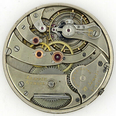 Agassiz OF 39.5mm Pocket Watch Movement Wolf Teeth 21j Adj EXTRA top grade RUNS