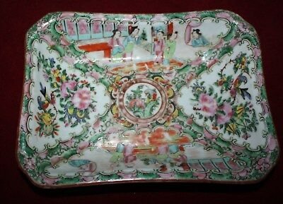 Antique - Rose Medallion - Hand Painted Rectangular Dish - 19th Century Unmarked