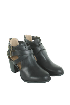Austin-5-05 Women Double-Buckle Cut Out Bootie Anna Footwear Black