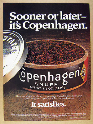 1985 Copenhagen Tobacco 'Sooner or later' can tin photo vintage print Ad