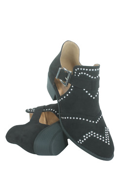 Sochi-123-05 Women Studded Cut-Out Bootie Qupid Black Suede Pu