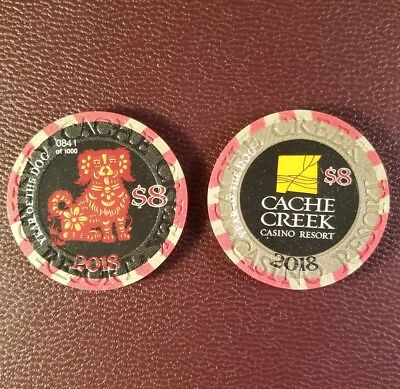 2018 cache creek year of the dog $8 casino chip unc CHIP NUMBER IS DIFFERENT