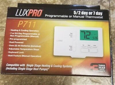 LuxPro 1 Heat 1 Cool Horizontal Mount Programmable Thermostat - P711