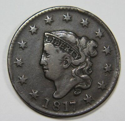 1817 13 Stars Liberty Matron Head Large Cent Penny Old US Coin NR P1R L002