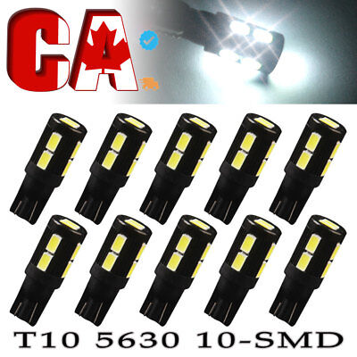 10X Xenon White T10 Side Wedge 5630 10SMD LED License Map Light W5W 2825