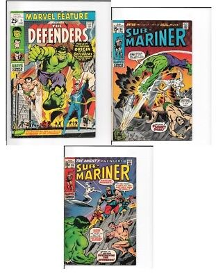 Marvel Feature #1, Sub-Mariner #34 & #351st App. of The Defenders and Preludes!